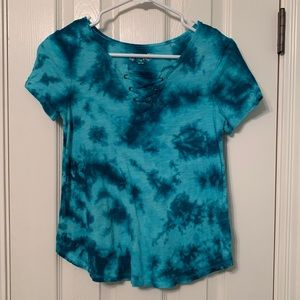 NWOT!  Mudd tie dyed tee with lace up neck